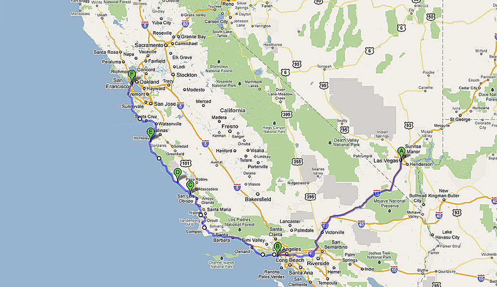 Map of the route from Las Vegas to San Francisco | Here\'s th ...