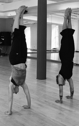 Bucky and Julie in a handstand contest | by Listen Missy!
