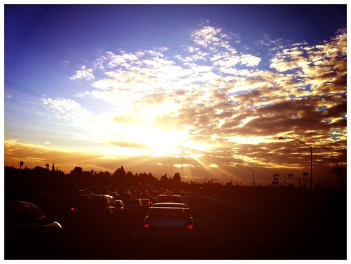 camera sun cars clouds sunrise freeway rays anaheim brakelights southbound 5freeway iphone4
