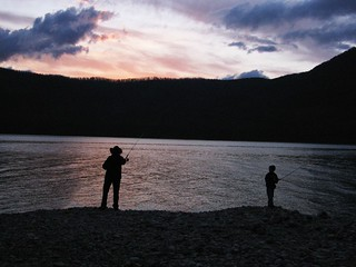 Sunset Father-son fishing in Lake McDonald, Glacier Park, MT | by dave_offen