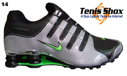tenis nike shox preto com verde
