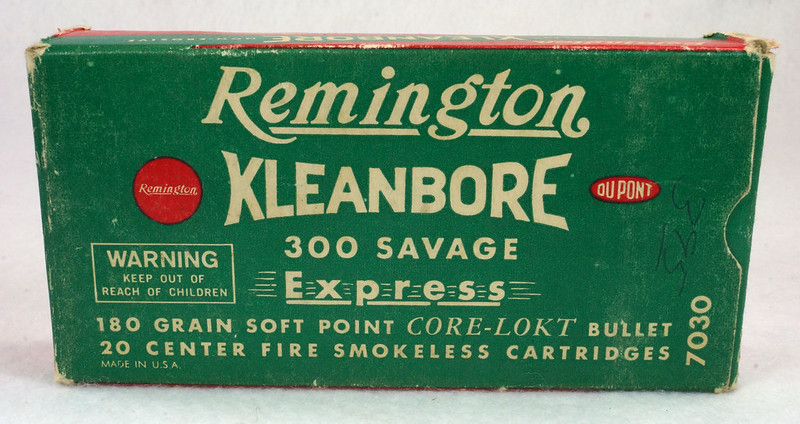 RD14570 Vintage Remington Kleanbore 300 Savage Express 180 Gr. Soft Point Ammo Box with 20 Empty Brass Casings DSC06994