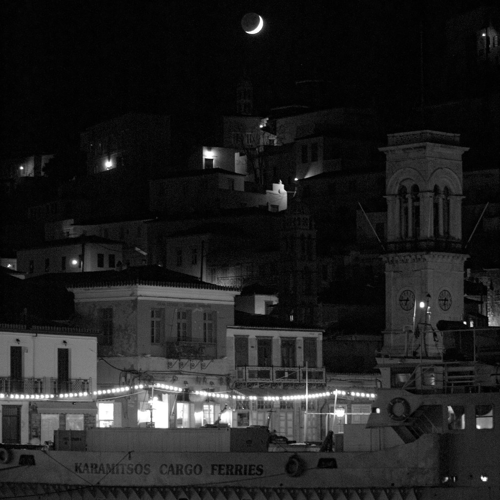 Hydra Moon: The Sleepy Town Of Hydra By Night. Motor