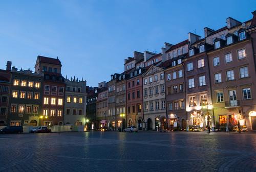 old town market place warsaw poland polska europe city blue hour nikon d40x nikond40x architecture