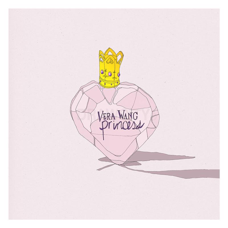 Drawing of Vera Wang Pink Gold Purple Diamond Studs Perfume Bottle