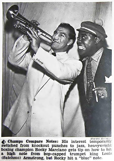 Rocky Marciano and Louis Armstrong Compare Notes - Hue Magazine Jan 1955