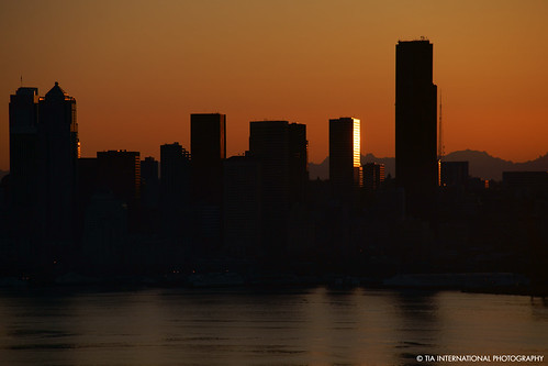seattle city light shadow orange sunlight mountain reflection building silhouette skyline bronze skyscraper sunrise tia gold dawn golden bay washington spring waterfront state pacific northwest horizon may columbia sound range cascade emerald elliott puget tosinarasi tiascapes ©tiainternationalphotography