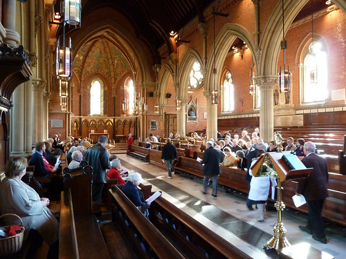 Gathering in the Chapel for the Service