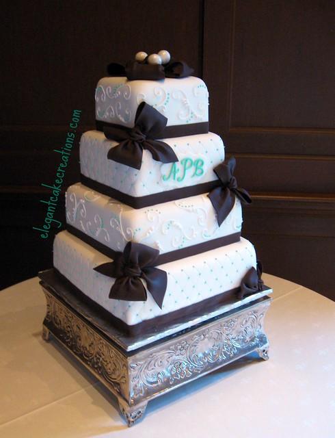 Chocolate Bows Wedding Cake