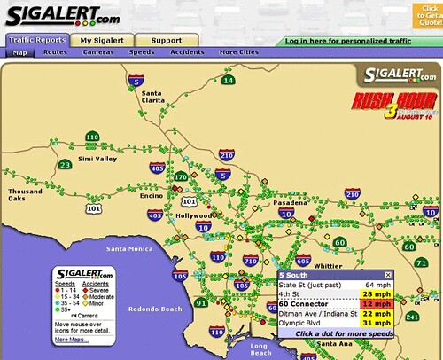 Sigalert.com - Los Angeles & Orange County Traffic Report ... on san gabriel mountains california map, la live map, caltrans sigalert los angeles map, los angeles county, l.a map, 511 traffic los angeles map,