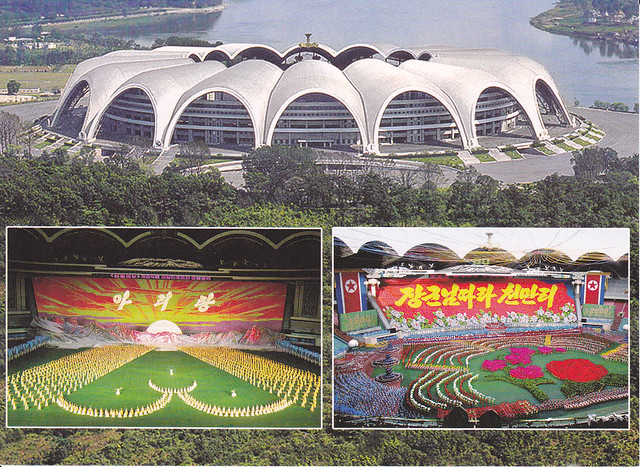 North Korea Building Multi-view Postcard