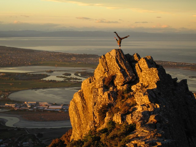 handstand on Castle Rock