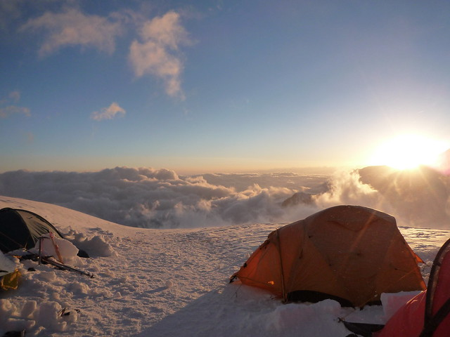 the view from Camp 3, 6050m, facing Kyrgyzstan.