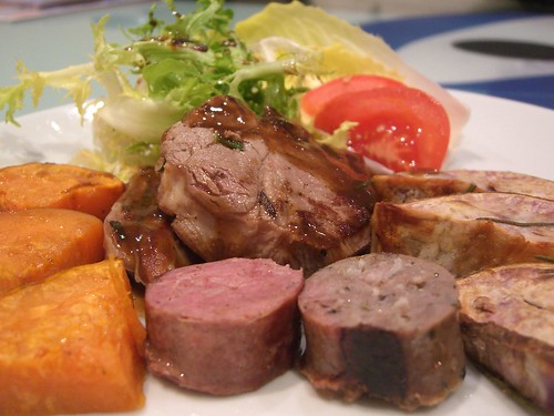 Lamb Loin Chops, Buffalo Sausage, Bull Boar Sausage, Roast Orange and Purple Sweet Potatoes, Frisée and Witlof | by avlxyz
