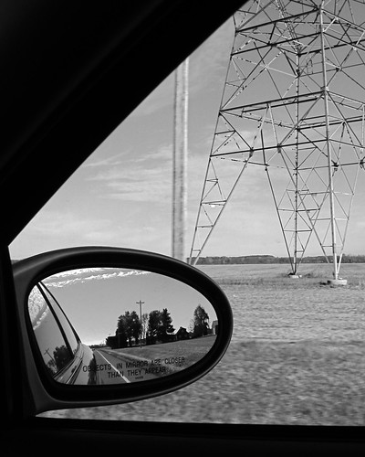 road trip trees ohio sky reflection window field car clouds mirror highway power view farm rear driveby objects pylon route 23 objectsinmirrorarecloserthantheyappear 123bw blackandwhiteonly
