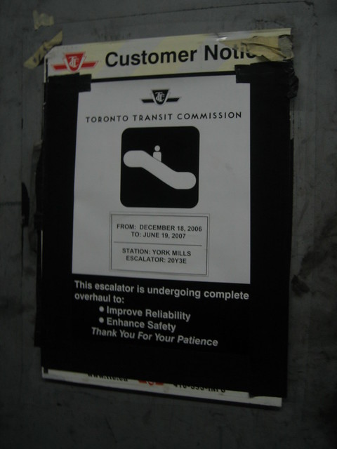 York Mills Escalator Construction