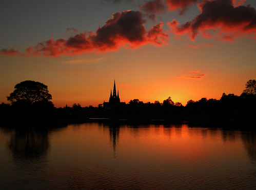 "sunset reflections staffordshire lichfield greatphotographers stowepool ""flickraward"" mygearandmepremium birdsandsunsets lichhieldcathedral"