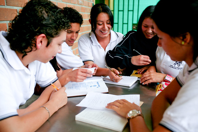 Students in a technical education program