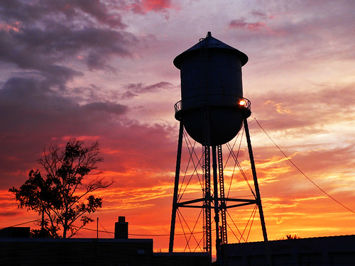 sunset sky silhouette clouds watertower