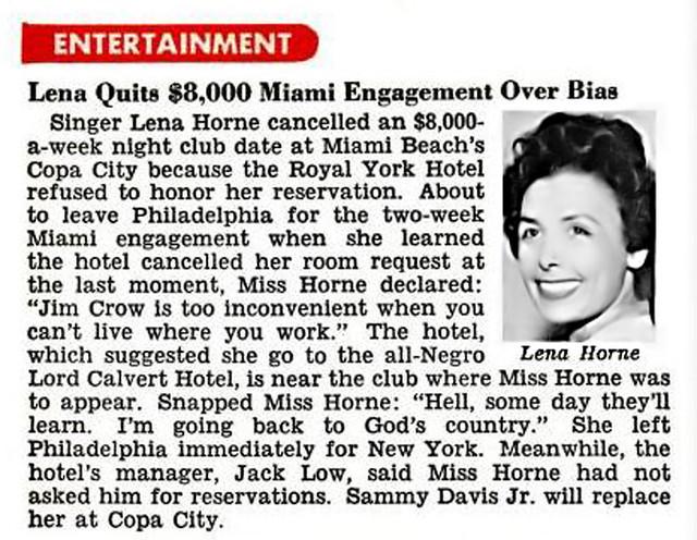 Lena Horne Quits Miami Engagement Over Racism - Jet Magazine, March 3, 1955