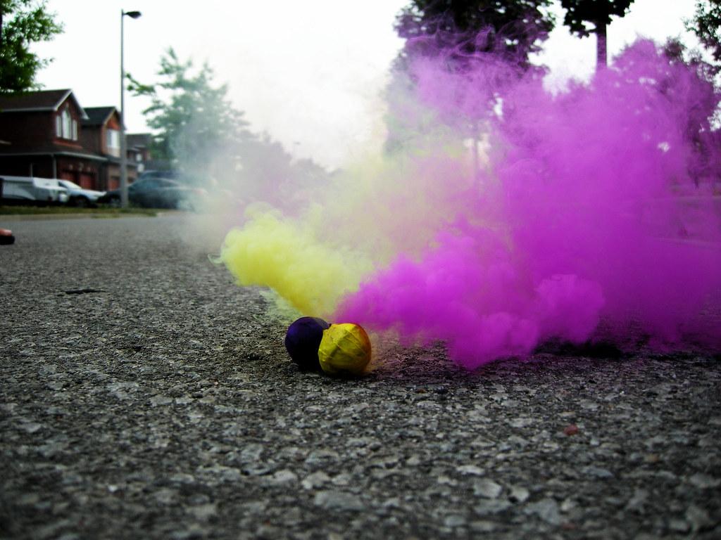 Smoke Bombs | Ya know, it kinda looks like the yellow one is… | Flickr