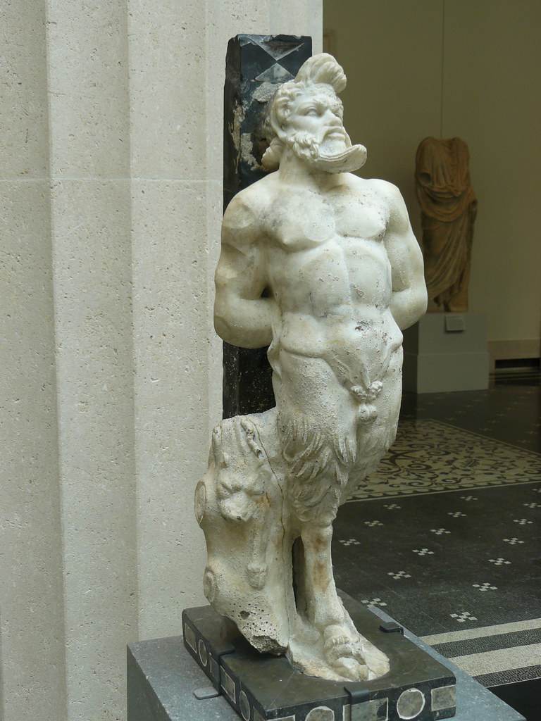 Table Support With A Marble Statue Of Pan Roman Imperial P