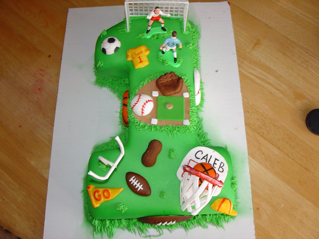 Peachy Boys Sports First Birthday Cake Boys First Birthday Sports Flickr Personalised Birthday Cards Veneteletsinfo