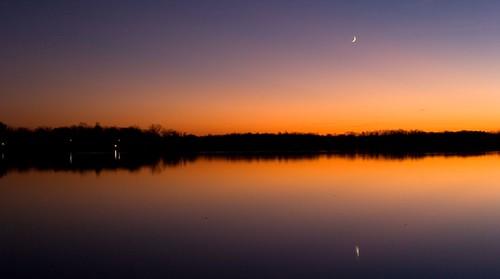 thanksgiving trip sunset sky orange moon lake reflection set mi purple dusk michigan dawnperry photofaceoffwinner pfogold