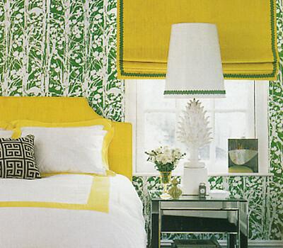 Jonathan Adler bedroom | Yellow, green, and white - my ...