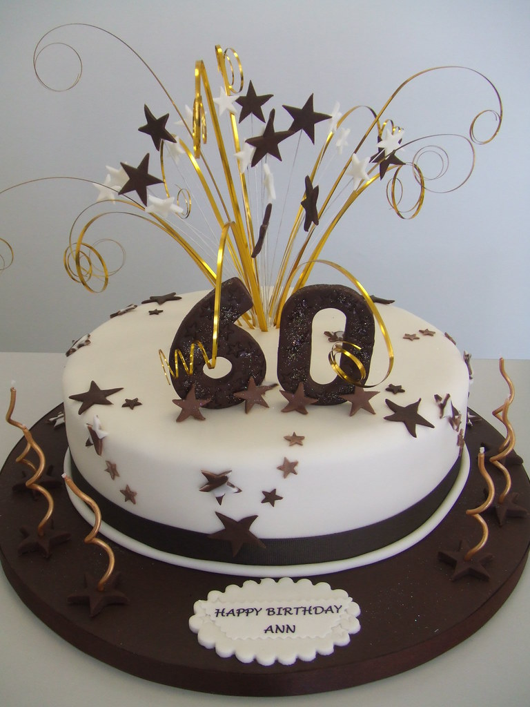 Groovy Cake 60Th Birthday Warm Browns And Creams For A Ladies 6 Personalised Birthday Cards Rectzonderlifede