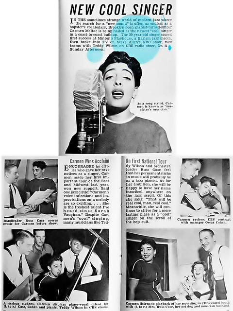 Carmen McRae - New Cool Singer, Hue Magazine Jan 1955