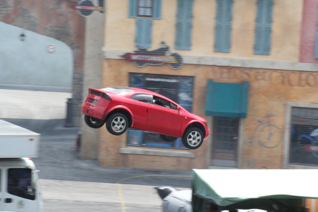 Flying car in the Lights Motors Action Extreme Stunt Show