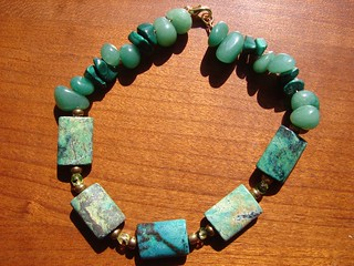 Malachite, Aventurine, and African turquoise bracelet | by julz91