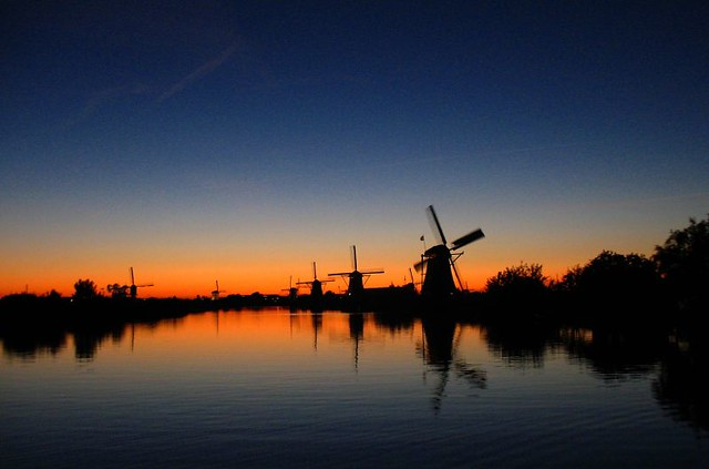 Windmills in Kinderdijk - sunset