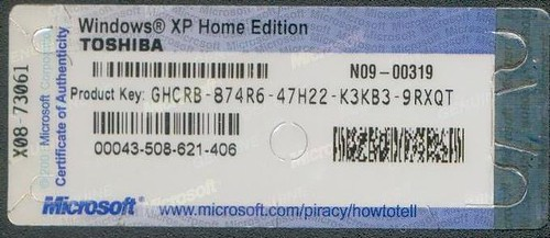 Windows'XP Home Edition OEM Toshiba Product Key ...