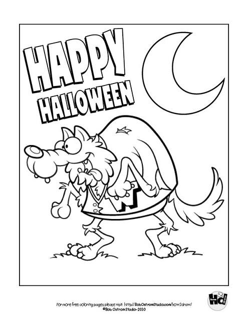 Werewolf | Free Halloween coloring page from Bob Ostrom ...