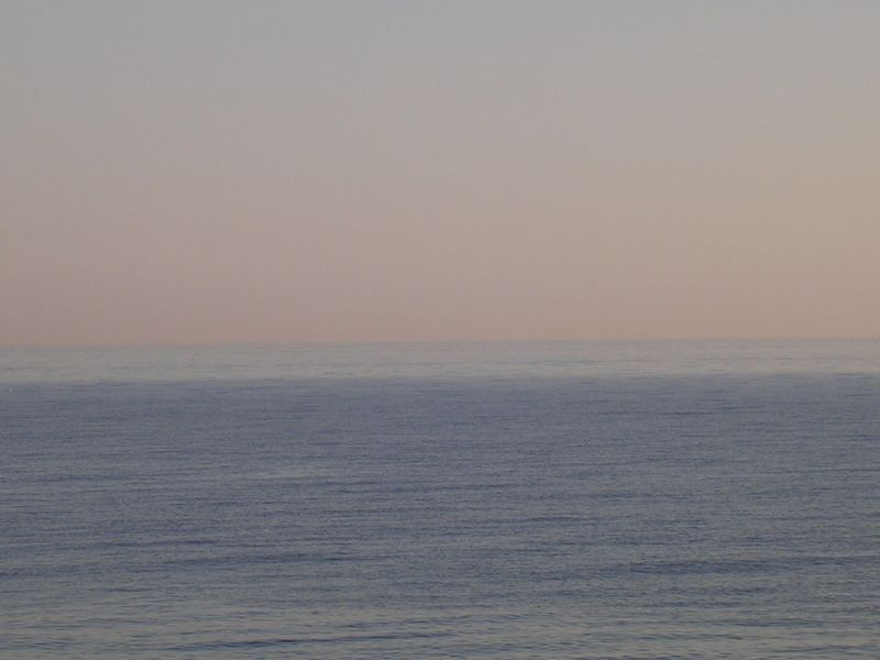 Two tone sea, pink sky Glynde to Seaford