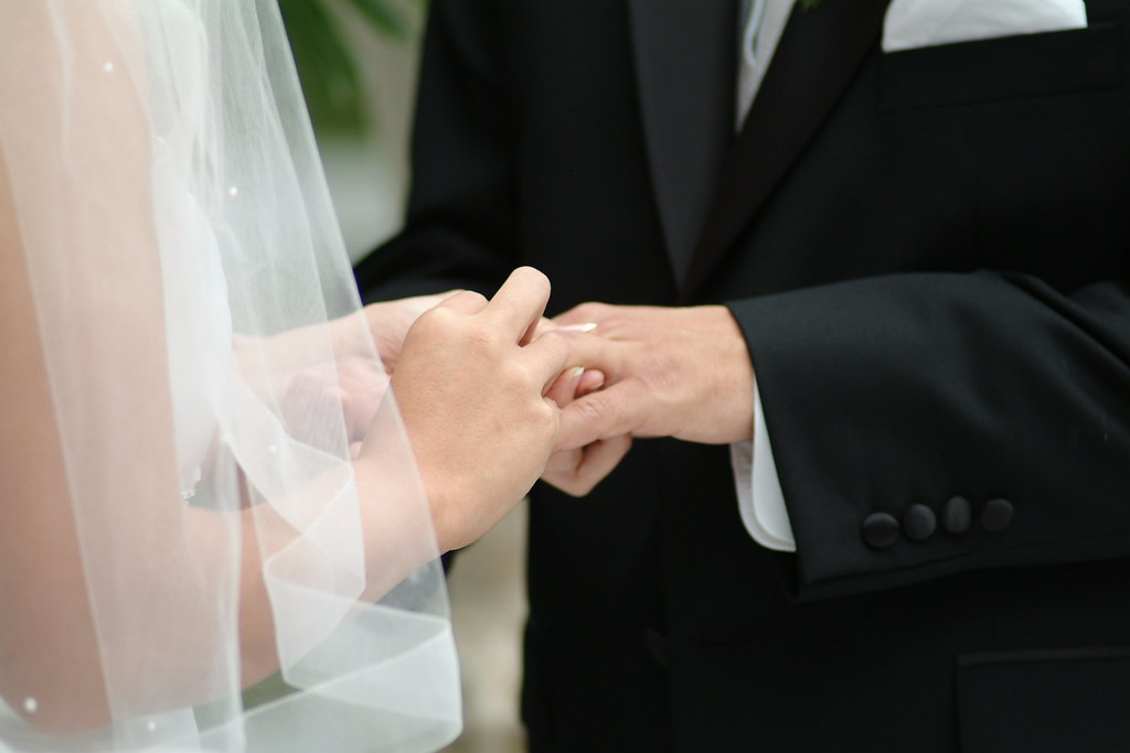 charlene putting chris' ring on his finger