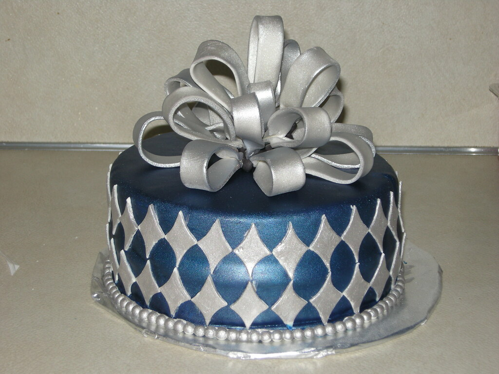 Blue And Silver Birthday Cake For My Husbands Birthday