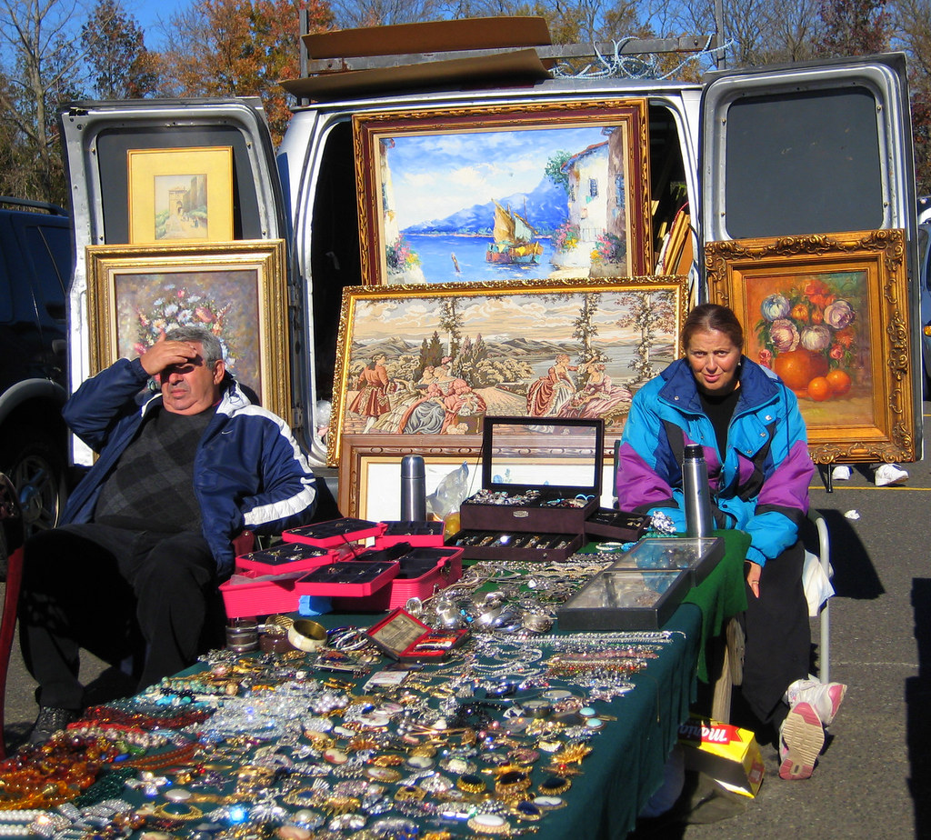 a couple at a flea market