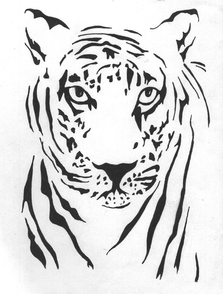 Tribal Tiger Head Also Drawn For A Tattoo Ravenzwhisper