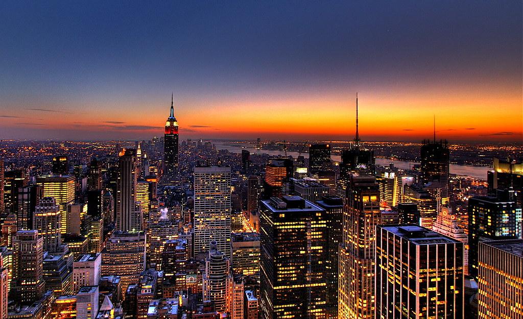 Nyc New York City Skyline Sunset Wallpaper Background Flickr