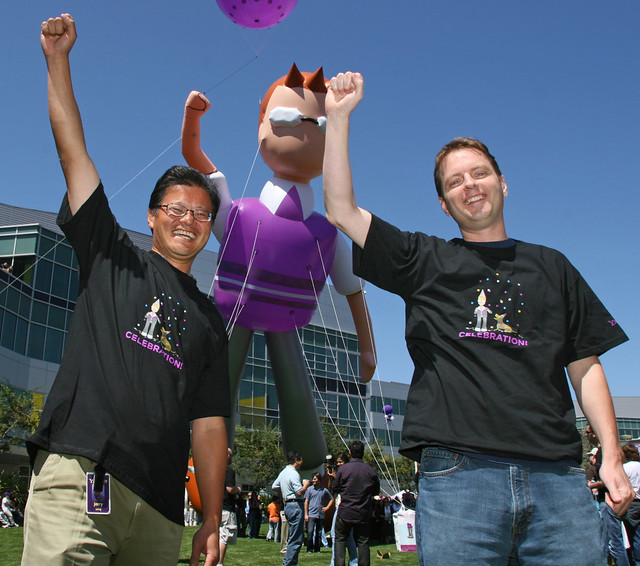 Jerry, Liam & David celebrate the new Yahoo! Mail