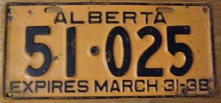 ALBERTA 1937 (EXPIRES MARCH 31-38) auto license plate