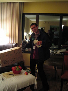 oh god, our time in the con suite. paolo bacigalupi w/giant bottle of ranch dressing