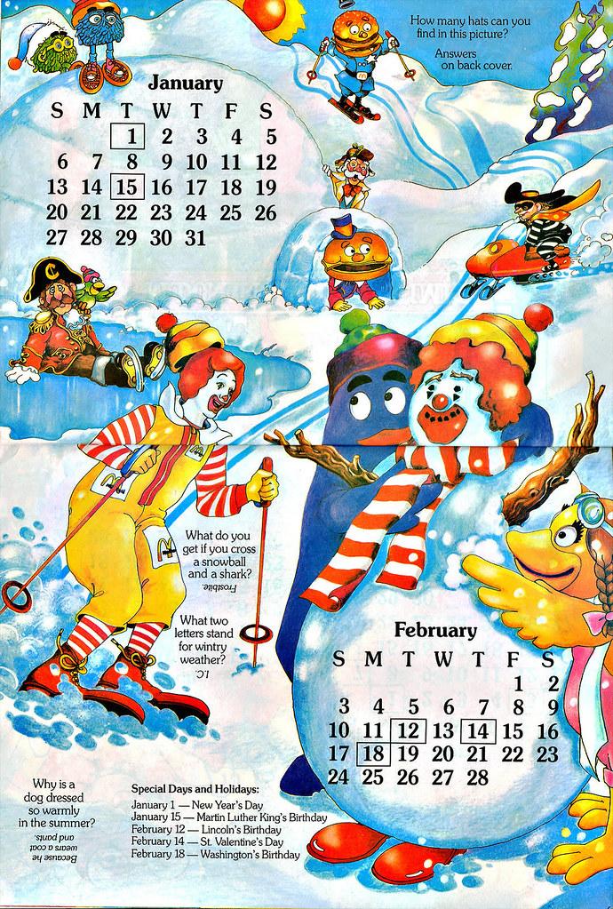 1985 Calendar.Mcdonaldland Fun Times 1985 Calendar Jan Feb Flickr