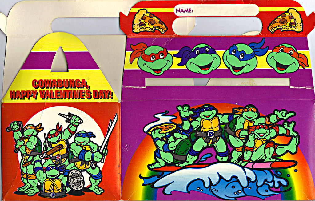 "MELLO SMELLO :: ""TEENAGE MUTANT NINJA TURTLES"" Valentine Kit .. ""POP-UP"" tote box ii (( 1994 )) by tOkKa"