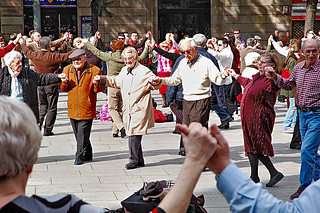 Sardana Dancers in Front of Barcelona Cathedral