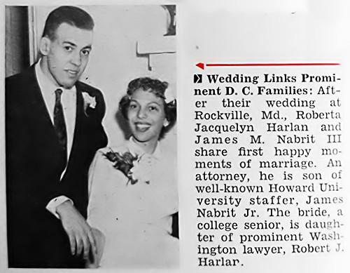 James M. Nabrit III Weds Roberta Harlan - Jet Magazine January 26, 1956