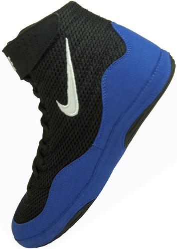 black nike royalblue wrestlingshoes inflict